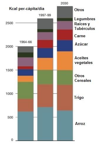 Energia aportada por los principales alimentos basicos en los paises en desarrollo