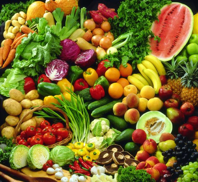 Aporte calorico de las frutas y verduras