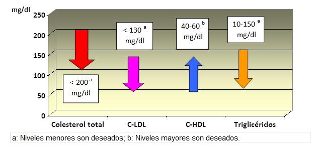 Valores de referencia de colesterol y trigliceridos en adultos